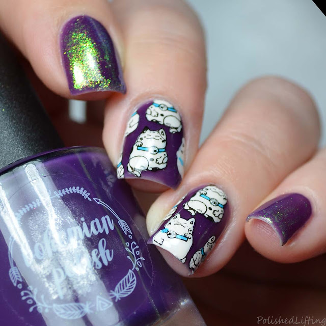 lucky cat nail art