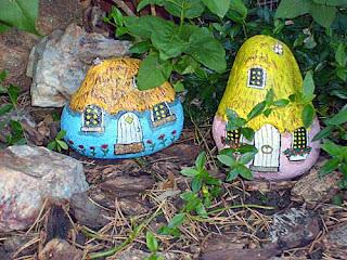 garden, decor, buildings, gnome homes, painted rocks