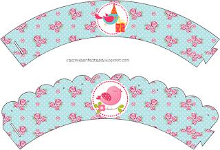 Wrappers para Cupcake para Imprimir Gratis de Pajaritos Celebrando.