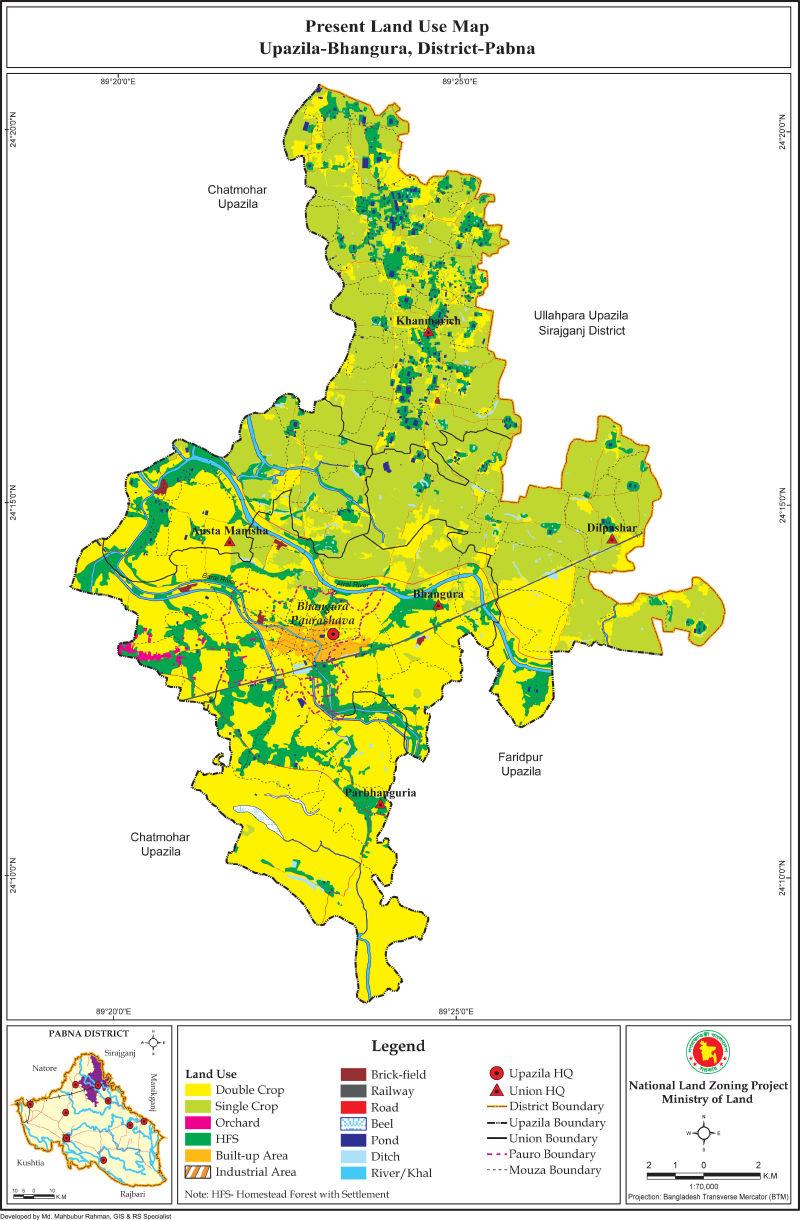 Bhangura Upazila Mouza Map Pabna District Bangladesh