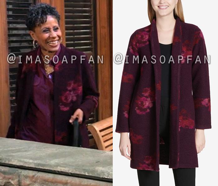 Stella Henry, Vernee Watson, Purple Floral Sweater Coat, General Hospital, GH