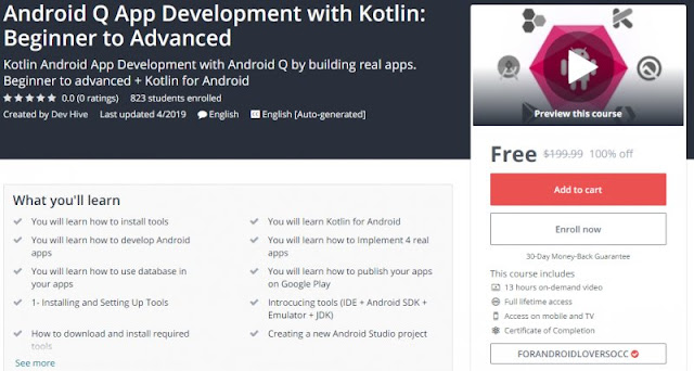 [100% Off] Android Q App Development with Kotlin: Beginner to Advanced| Worth 199,99$