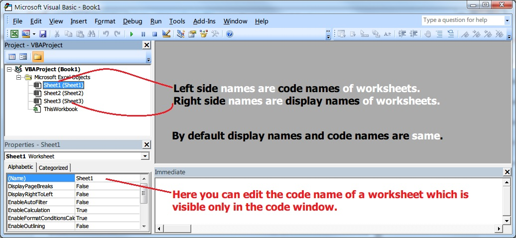 Difference between worksheet display names and code names in Excel – Vba Worksheet Name