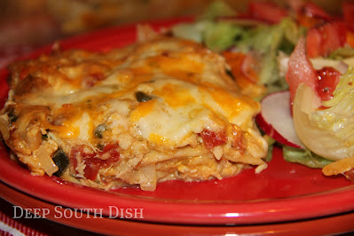 A Tex-Mex favorite, this homemade from scratch version of King Ranch Casserole is made using a highly seasoned shredded chicken, and a butter roux-based cream sauce, seasoned with a medley of veggies and peppers, and layered in with cheese and corn tortillas. Yum y'all!