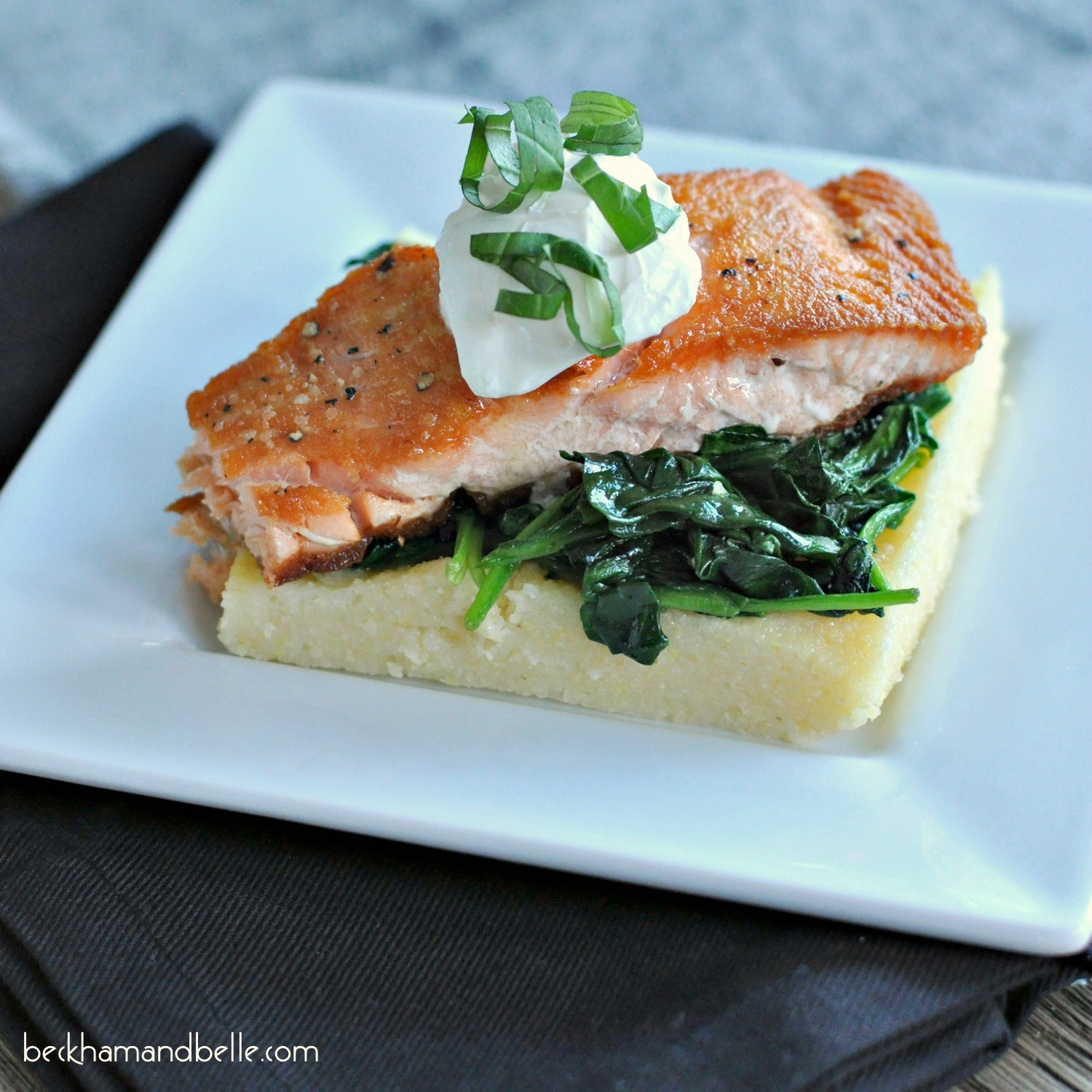 Salmon, spinach and polenta cakes