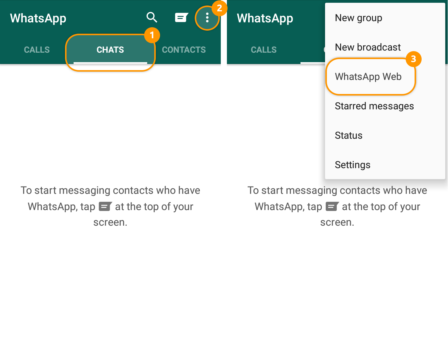 How to use Messengers: Start your WhatsApp App and open the