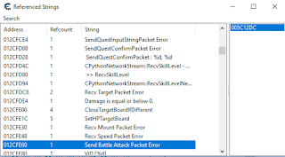 Cheat engine > Memory view > View > Referenced Strings > Send Battle Attack buluyoruz.