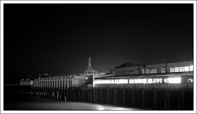 Clacton on Sea, Essex, photographer, night photography, black and white, beach,