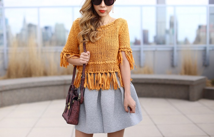 Free People on the fringe crop cotton sweater, fringe sweater, grey skirt, karen walker super duper sunglasses, kendra scott earrings, 31phillip lim mini pashli bag, fringe peep toe booties, fringe booties, festival look, coachella 2016 outfit, nyc street style