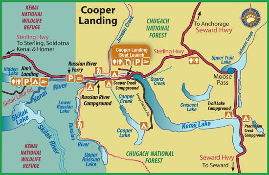 Maps of Alaska Roads By Bearfoot Guides: Map of Cooper Landing, Alaska