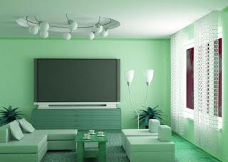 sala decorada gris verde