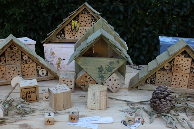Insect houses at a garden exhibition
