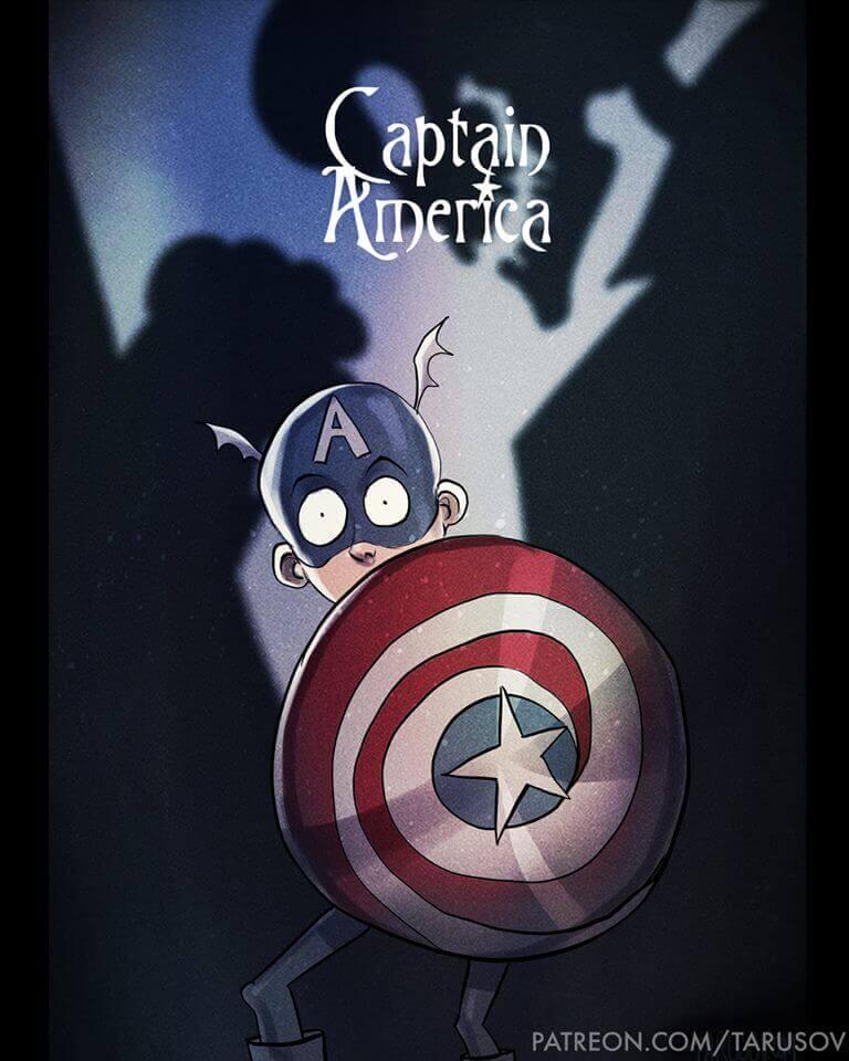 Superhéroes Marvel y DC Comics al estilo Tim Burton