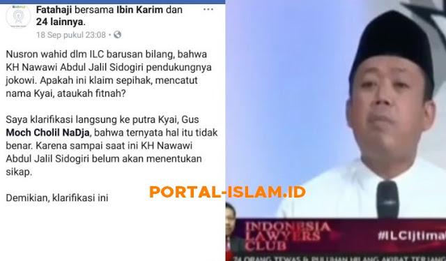 Di ILC Nusron Catut Nama KH Nawawi Diklaim Dukung Jokowi, Ini Bantahan dari Putra KH Nawawi