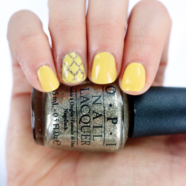 Yellow and Gold Spring Nail Art, OPI My Favorite Ornament, OPI Fiercely Fiona Mini, Moroccan Nail Art Vinyl - Tori's Pretty Things Blog