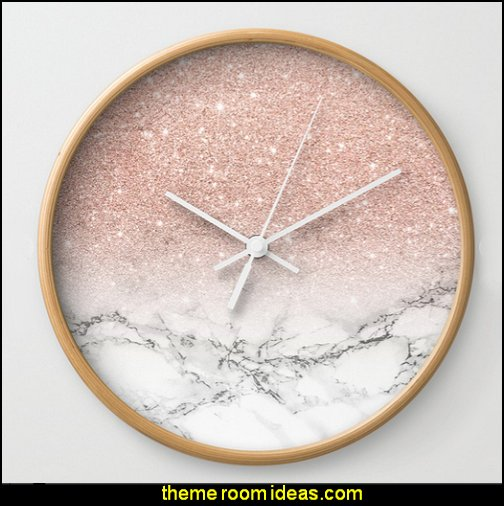 rose pink glitter clock  Blush pink decorating - blush pink decor - blush and gold decor - blush pink and gold bedroom decor -  blush pink gold baby girl nursery furniture - blush art prints - rose gold bedroom decor -  blush black bedroom decor - blush mint green decor - Blush Black Gold Glitter home decor - Blush Pink furniture