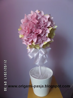drzewko, kusudama, kwiaty, z papieru, róż, krem, kremowy,