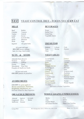 Yeast control diet - food you can eat