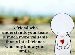 Quotes about friends:A friend who understands your tears is much more valuable than a lot of friends who only know your smile.