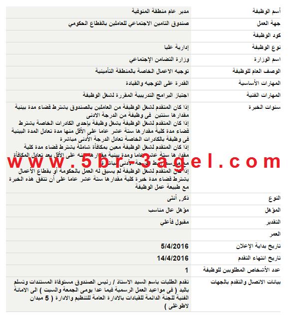 اعلان وظائف وزارة التضامن الاجتماعى بجميع المحافظات والاوراق والتقديم حتى 14 / 4 / 2016