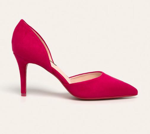 Pantofi cu toc eleganti de ocazii fucsia cu deupaje la moda