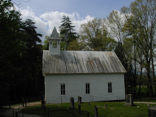 Side view of the Methodist Church from the church cemetery.