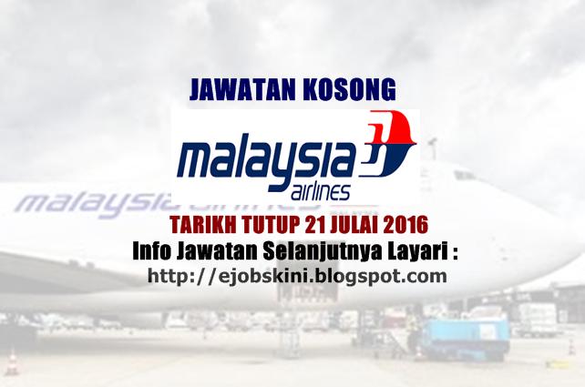 jawatan kosong di malaysia airlines berhad 2016