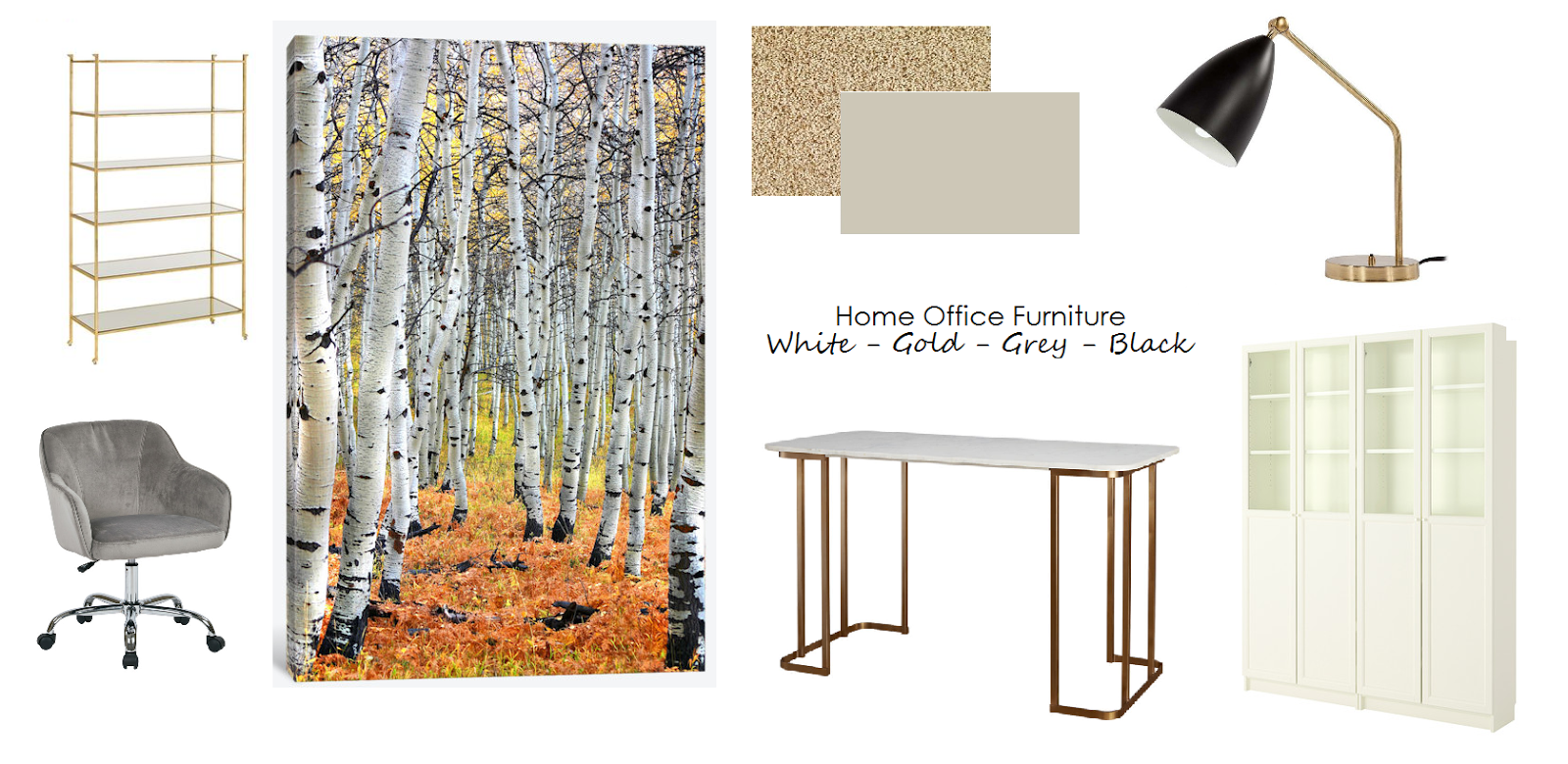 White Gold Grey and Black Home Office Furniture ~ Leah Nass