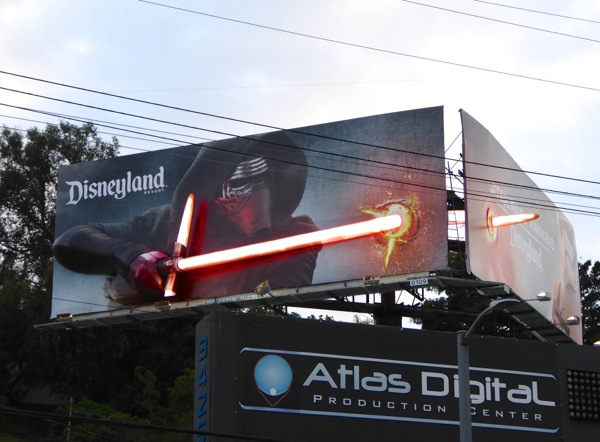 Disneyland 3D Kylo Ren lightsaber Star Wars billboard