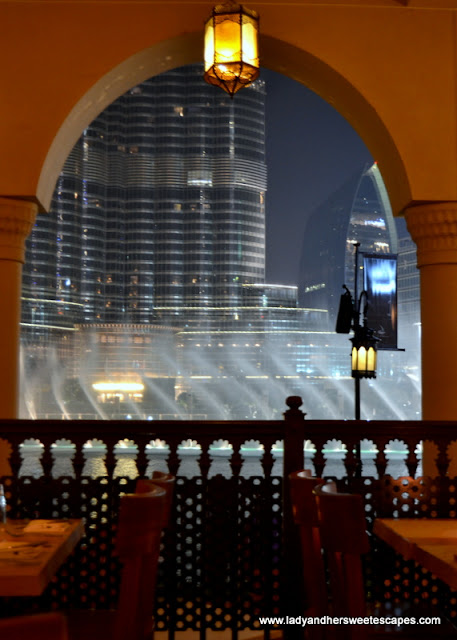 Dubai Fountain show from a restaurant in Souk Al Bahar