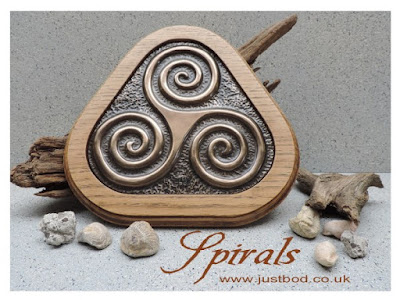 Hand Cast Bronze Triple Spiral Triskele Wall Plaque