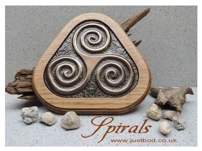 Hand Cast Bronze Triple Spiral Triskele Wall Plaque