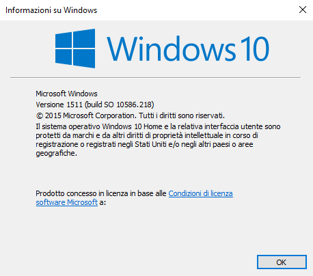 Finestra Informazioni su Windows