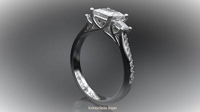 Tresillo de oro blanco con diamantes talla princesa