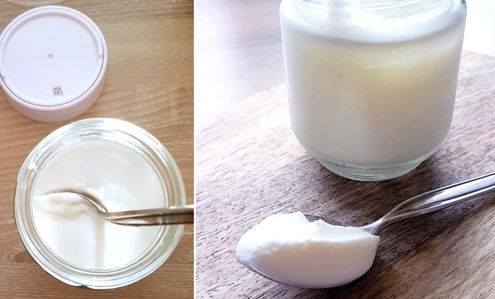 zwei Bilder mit Kokosjoghurt im Glas mit Löffel