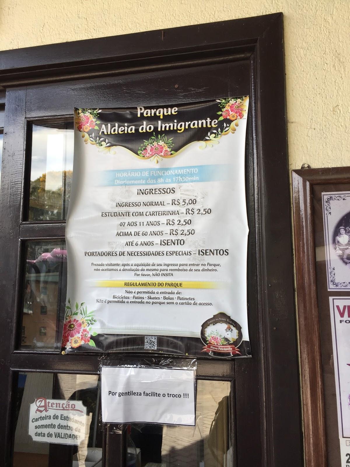 valores do ingresso a aldeia do imigrante em Nova Petrópolis