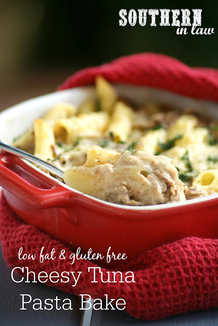Gluten Free Cheesy Tuna Pasta Bake Recipe | healthy, low fat, gluten free, high protein, egg free, nut free, clean eating recipe, lightened up, healthier