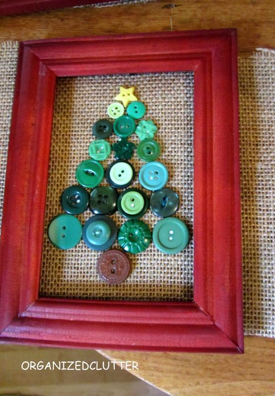 Framed Button Box Snowman & Christmas Tree | Organized Clutter