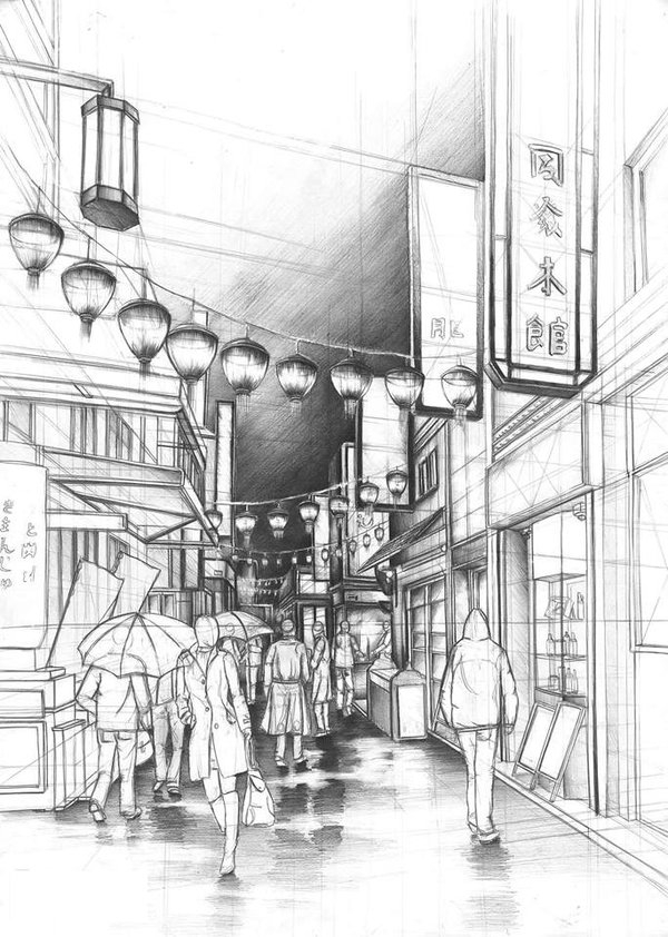 12-Chinatown-Marlena-Kostrzewska-Interior-Design-and-Architecture-in-Pencil-Drawings-www-designstack-co