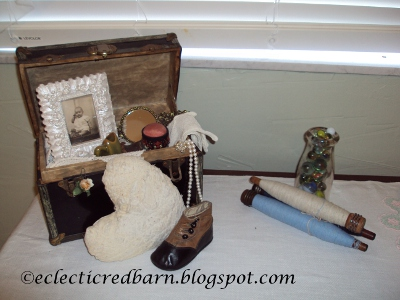 Eclectic Red Barn: Vintage doll box, heart pillow, vintage shoe