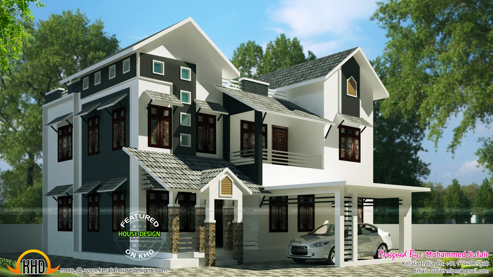 1900 sq-ft sloping roof house - Kerala home design and ...