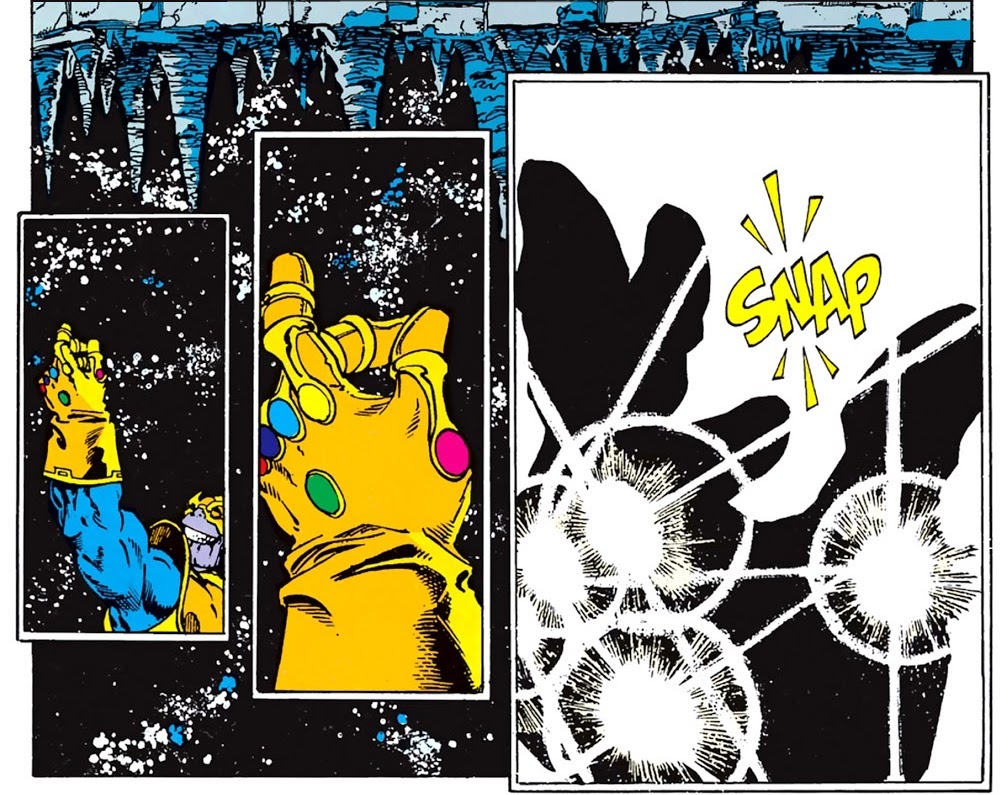 3 panels of 'camera' pulling in tight on Thanos' raised hand in the Infinity Gauntlet, his thumb and middle finger together and then, in silhouette, carrying through with sound effect 'SNAP'