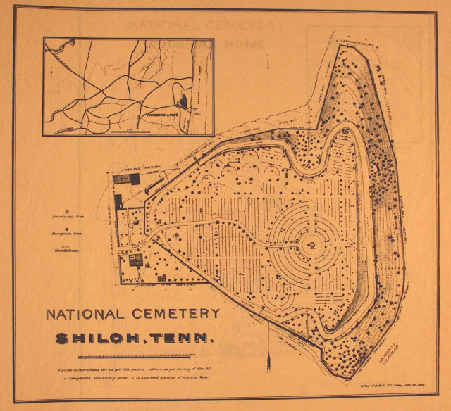 1893 Site Plan of Shiloh National Cemetery. Angel's Glow. marchmatron.com