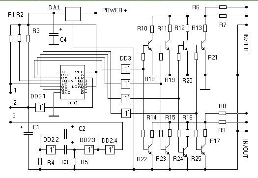 Audio Schematics: Digital volume control DD1 К555ИЕ7