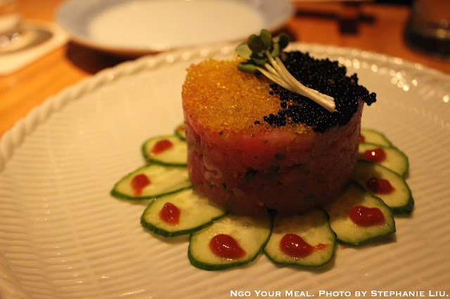 Maguro Tartar: Chopped Tuna with Flying Fish Roe and Steeped in Yuzu and Caviar at Sakagura