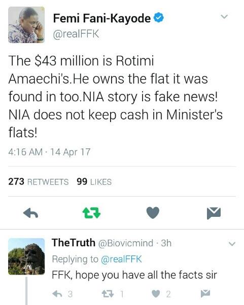 $43m found in Ikoyi belongs to Transport minister, Amaechi - FFK