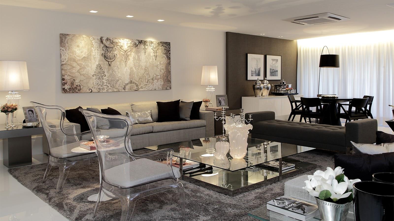 #7E6B4D  Consultoria de Decoração: Salas Integradas Compridas com Projeto 3D 1600x900 píxeis em Como Escolher Lustres Para Sala De Estar