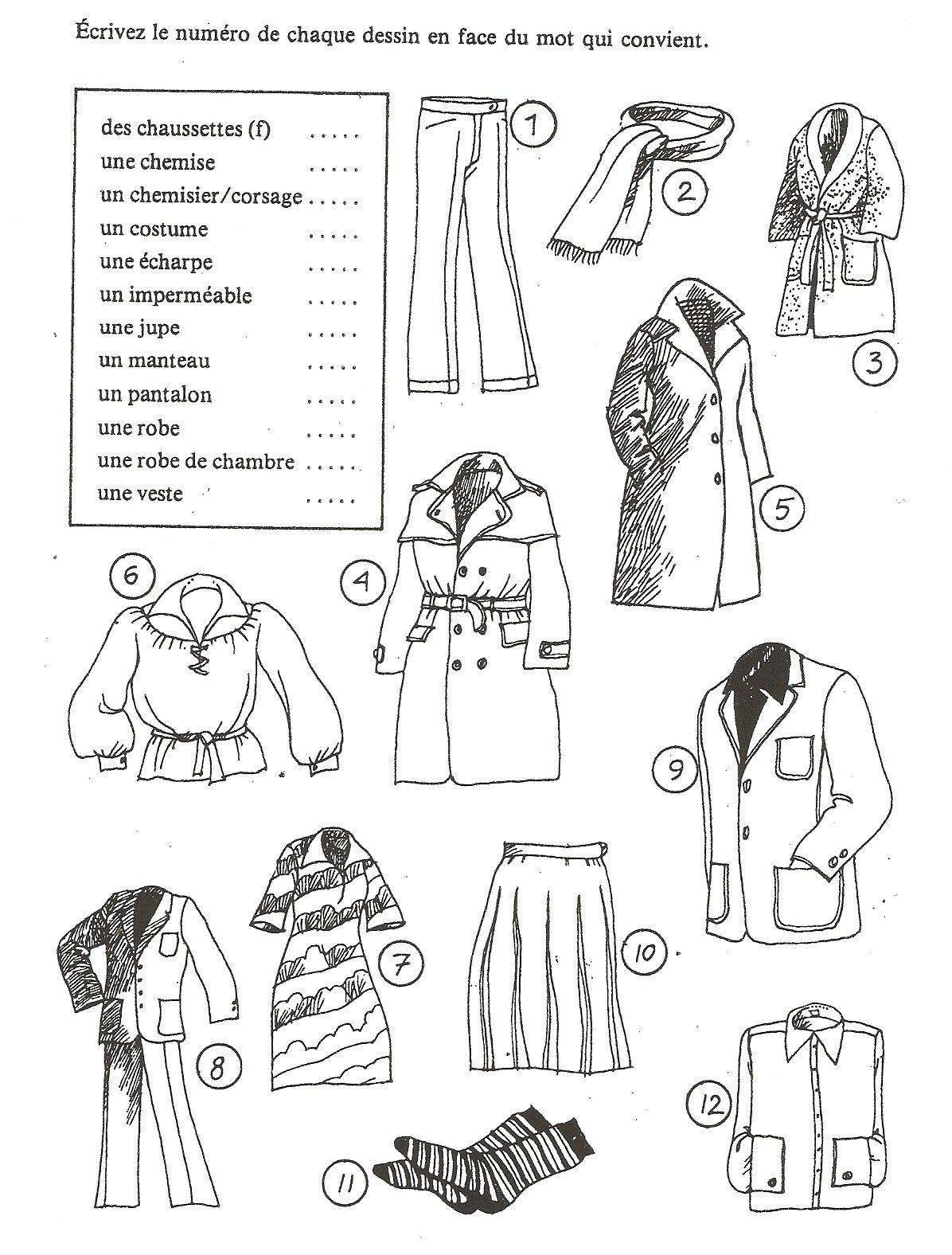 Ubrania - ćwiczenie 2 - Francuski przy kawie