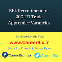 BEL Recruitment for 200 ITI Trade Apprentice Vacancies