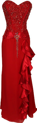 plus size red prom dresses with long ruffle strapless
